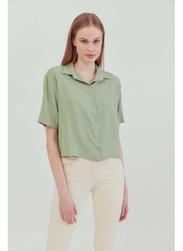 Vitrin VİTRİN Yakalı Kısa Kol Crop Gömlek Yeşil